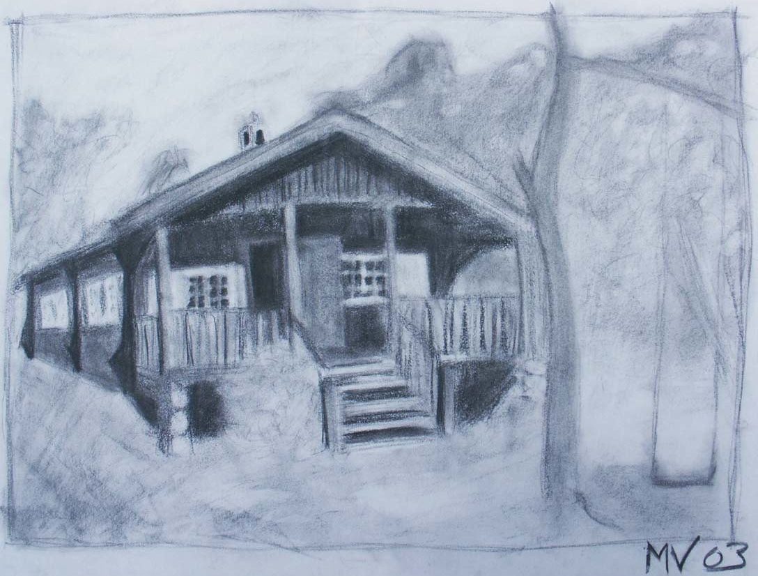The Summer House charcoal drawing