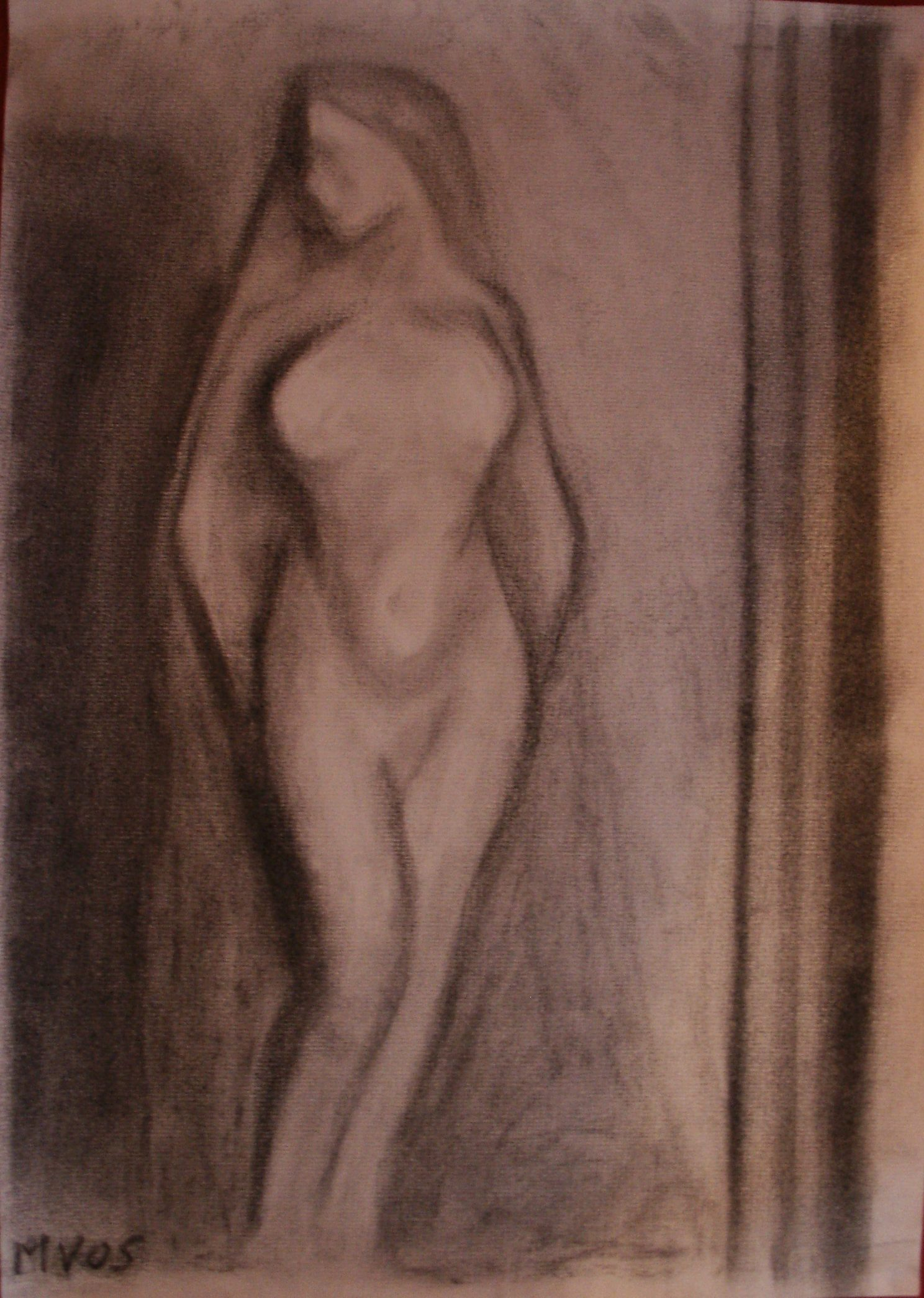 The Woman charcoal drawing