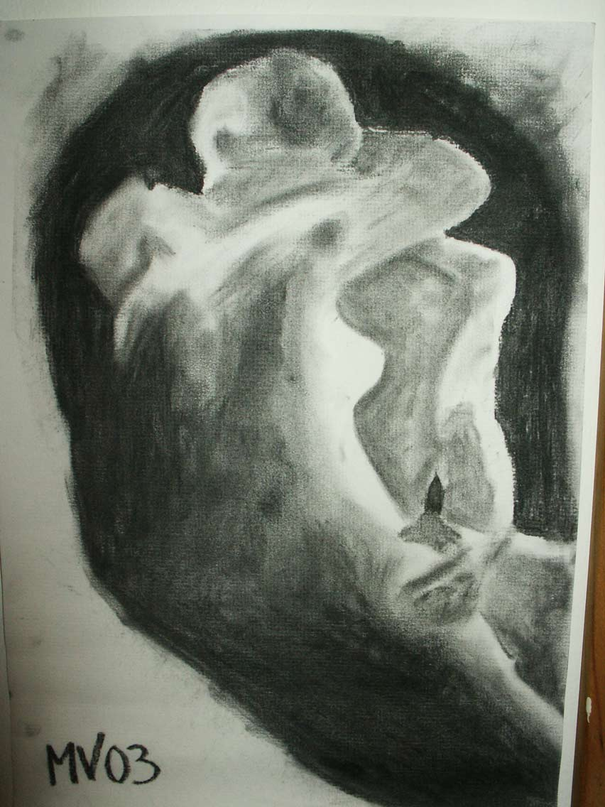The Kiss charcoal drawing